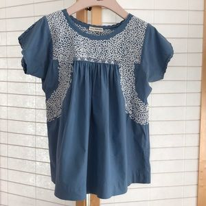 Sz 4 Ulla Johnson top white embroidery on blue